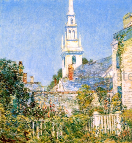 Frederick Childe Hassam White Church at Newport (also known as Church in a New England Village) - Hand Painted Oil Painting