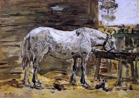 Eugene-Louis Boudin White Horse at the Feeding Trough - Hand Painted Oil Painting