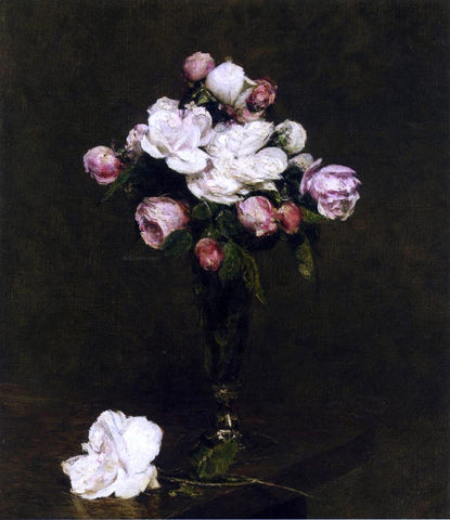 Henri Fantin-Latour White Roses and Roses in a Footed Glass - Hand Painted Oil Painting