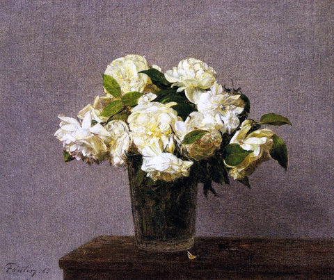 Henri Fantin-Latour White Roses in a Vase - Hand Painted Oil Painting