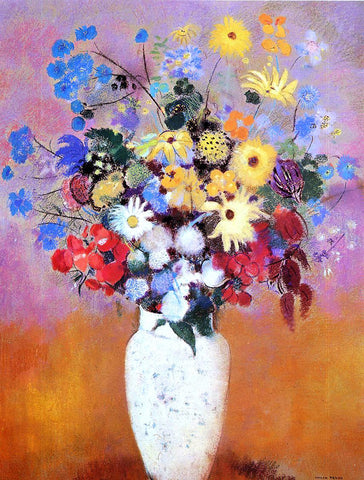 Odilon Redon White Vase with Flowers - Hand Painted Oil Painting