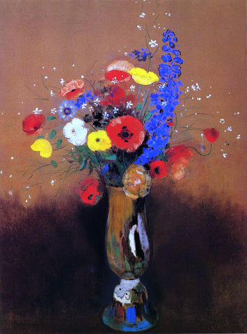 Odilon Redon Wild Flowers in a Long-Necked Vase - Hand Painted Oil Painting