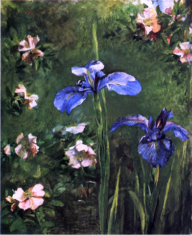 John La Farge Wild Roses and Irises - Hand Painted Oil Painting