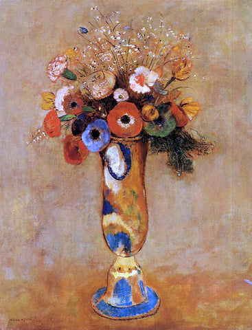 Odilon Redon Wildflowers in a Long Necked Vase - Hand Painted Oil Painting