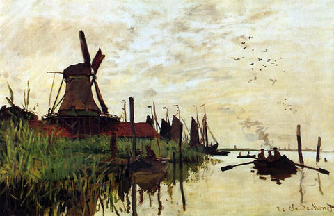 Claude Oscar Monet A Windmill at Zaandam - Hand Painted Oil Painting