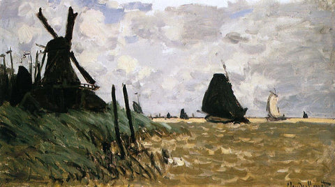 Claude Oscar Monet Windmill near Zaandam - Hand Painted Oil Painting