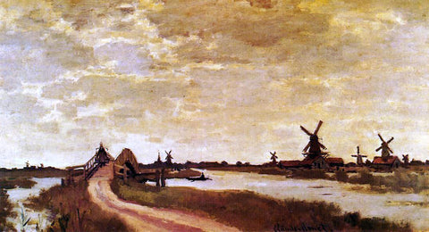 Claude Oscar Monet Windmills at Haaldersbroek, Zaandam - Hand Painted Oil Painting