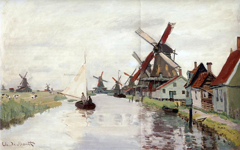 Claude Oscar Monet Windmills in Holland - Hand Painted Oil Painting