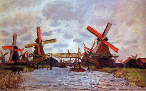 Claude Oscar Monet Windmills near Zaandam - Hand Painted Oil Painting