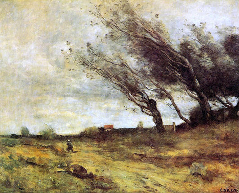 Jean-Baptiste-Camille Corot Windswept Landscape - Hand Painted Oil Painting