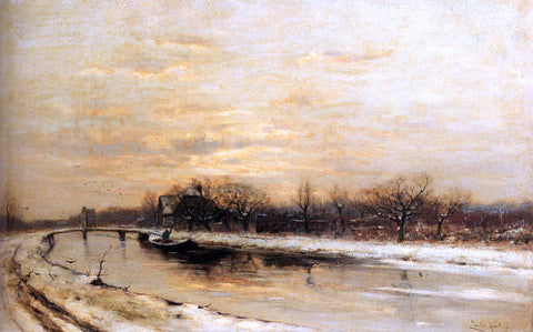 Louis Apol Winter: An Orchard Alongside A Canal With A Farmhouse In The Distance At Dusk - Hand Painted Oil Painting