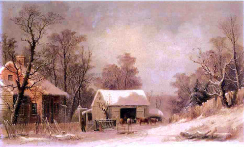 George Henry Durrie Winter in the Country - Hand Painted Oil Painting