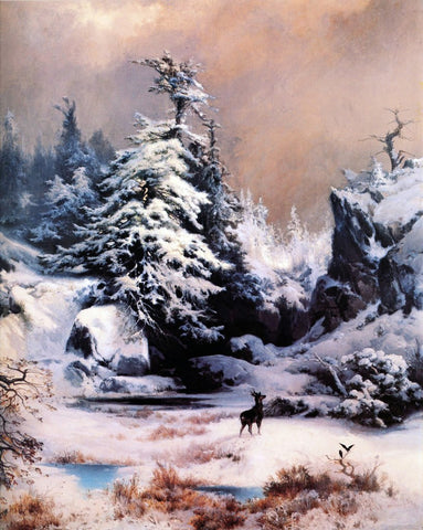 Thomas Moran Winter in the Rockies - Hand Painted Oil Painting