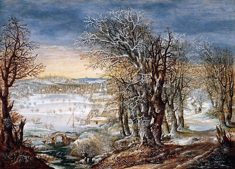 Denis Van Alsloot Winter Landscape in the Foret de Soignes, with the Flight Into Egypt - Hand Painted Oil Painting