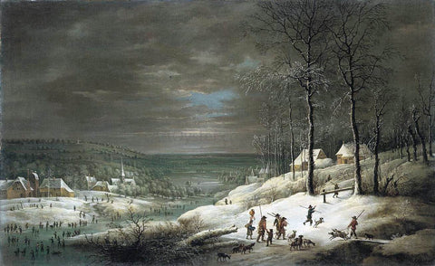 Lucas Van Uden Winter Landscape with Hunters - Hand Painted Oil Painting