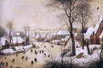 The Elder Pieter Bruegel Winter Landscape with Skaters and Bird Trap - Hand Painted Oil Painting