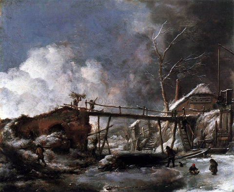 Philips Wouwerman Winter Landscape with Wooden Bridge - Hand Painted Oil Painting