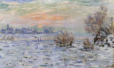 Claude Oscar Monet Winter on the Seine, Lavacourt - Hand Painted Oil Painting