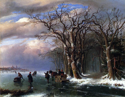 Louis Remy Mignot Winter Skating Scene - Hand Painted Oil Painting