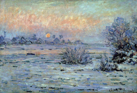Claude Oscar Monet Winter Sun, Lavacourt - Hand Painted Oil Painting