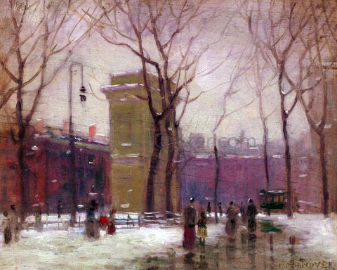 Paul Cornoyer Winter, Washington Square - Hand Painted Oil Painting