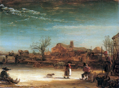 Rembrandt Van Rijn Winter-Landscape - Hand Painted Oil Painting