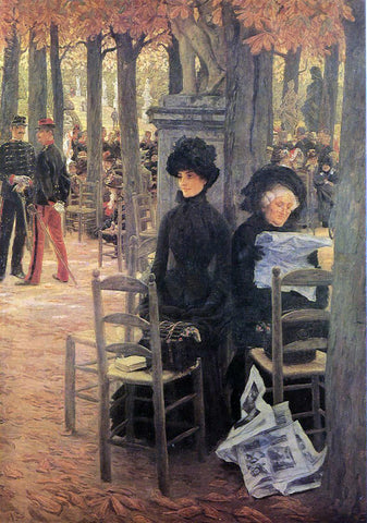 James Tissot Without a Dowry (also known as Sunday in the Luxembourg Gardens) - Hand Painted Oil Painting
