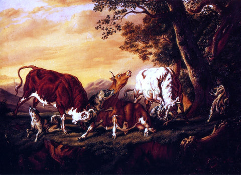 William Aiken Walker Wolves Attacking Cattle - Hand Painted Oil Painting