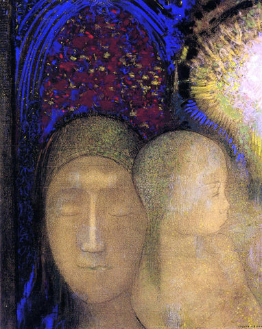 Odilon Redon Woman and Child Against a Stained Glass Background - Hand Painted Oil Painting
