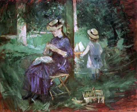 Berthe Morisot Woman and Child in a Garden - Hand Painted Oil Painting