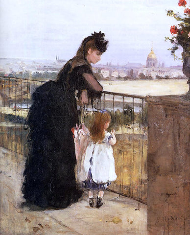 Berthe Morisot Woman and Child on a Balcony - Hand Painted Oil Painting