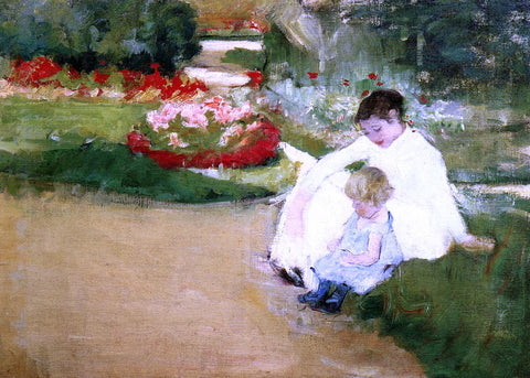 Mary Cassatt Woman and Child Seated in a Garden - Hand Painted Oil Painting