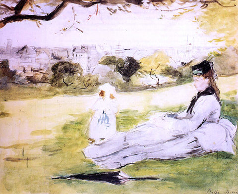 Berthe Morisot Woman and Child Seated in a Meadow - Hand Painted Oil Painting