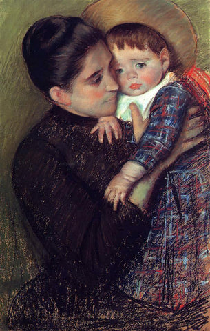 Mary Cassatt Woman and Her Child (also known as Helene de Septeuil) - Hand Painted Oil Painting