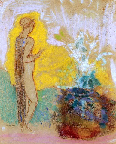 Odilon Redon Woman and Stone Pot Full of Flowers - Hand Painted Oil Painting