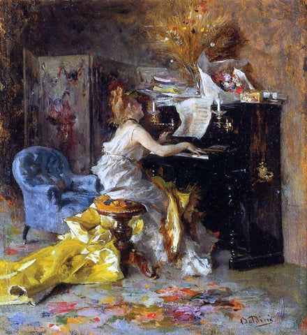 Giovanni Boldini Woman at a Piano - Hand Painted Oil Painting