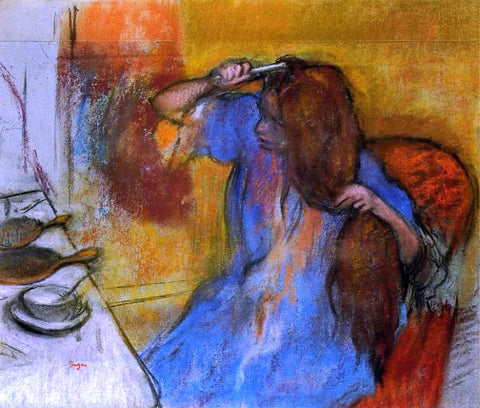 Edgar Degas A Woman Brushing Her Hair - Hand Painted Oil Painting