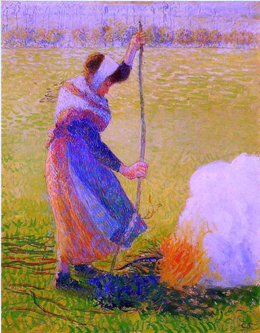 Camille Pissarro Woman Burning Wood - Hand Painted Oil Painting