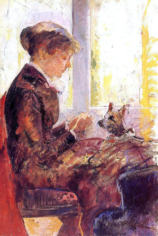 Mary Cassatt Woman by a Window Feeding Her Dog - Hand Painted Oil Painting
