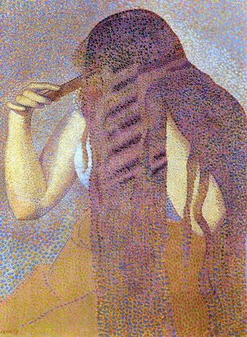 Henri Edmond Cross Woman Combing Her Hair - Hand Painted Oil Painting