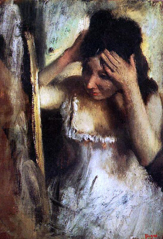 Edgar Degas Woman Combing Her Hair before a Mirror - Hand Painted Oil Painting