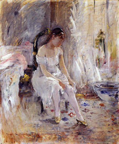 Berthe Morisot Woman Getting Dressed (also known as Young Woman Fastening Her Stockings) - Hand Painted Oil Painting