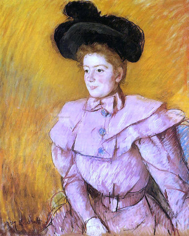 Mary Cassatt Woman in a Black Hat and a Raspberry Pink Costume - Hand Painted Oil Painting