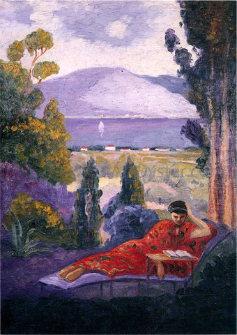 Henri Lebasque Woman in a Mediterranean landscape - Hand Painted Oil Painting