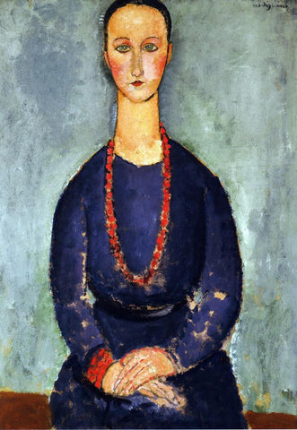 Amedeo Modigliani Woman in a Red Necklace - Hand Painted Oil Painting
