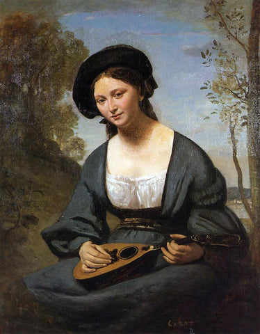 Jean-Baptiste-Camille Corot Woman in a Toque with a Mandolin - Hand Painted Oil Painting