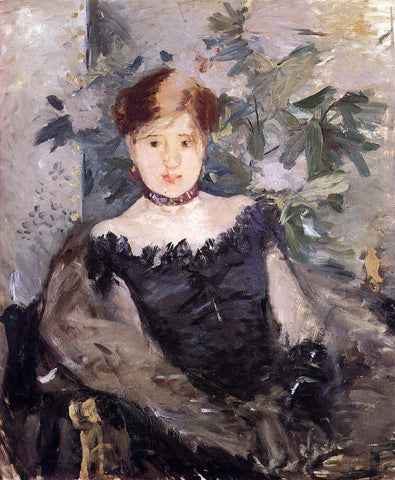 Berthe Morisot Woman in Black - Hand Painted Oil Painting