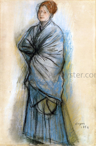 Edgar Degas Woman in Blue (also known as Portrait of Mlle. Helene Rouart) - Hand Painted Oil Painting