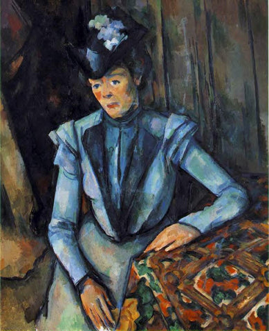 Paul Cezanne Woman in Blue - Hand Painted Oil Painting