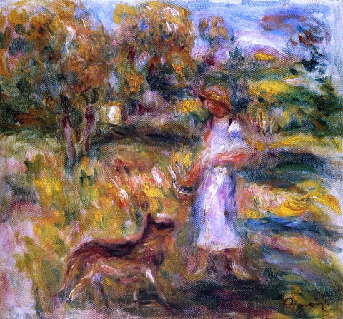 Pierre Auguste Renoir Woman in Blue and Zaza in a Landscape - Hand Painted Oil Painting